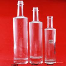 Vente en gros de bouteilles de verre à la vodka 750ml Bougies spiritueuses Brandy Bouteilles à alcool cylindrique