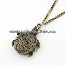 2013 Atacado Tortoise Design Antique Brass Esqueleto Pocket Watch 11030773