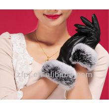 Pelo de conejo decorado guante de cuero