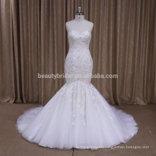 XF1083A beautiful design mermaid lace sleeveless wedding dress