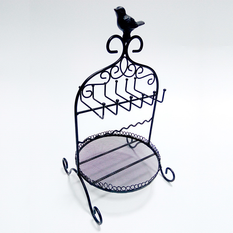 Metal Basket With Birds Jewelry Rack