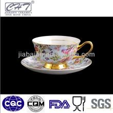 220ML Idyllische Design-Porzellan-Kaffeetasse und Untertasse-Set