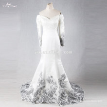 RSE700 двух частей Китая на заказ Дубай мусульманский длинная накидка Саудовской Аравии Русалка свадебное платье 2016 с длинным рукавом