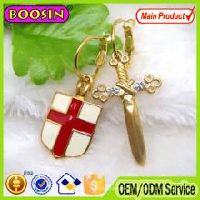Fashion Design Enamel Shield and Sword Earrings for Men, Gold Earrings for Men #21307