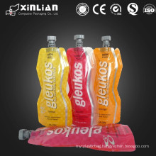 factory price plastic stand up pouch with spout/Juice packaging bag/sauce plastic packaging stand up pouch/jelly packaging spout