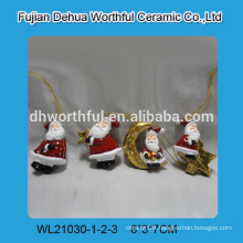 Best selling ceramic christmas hanging ornaments with santa design