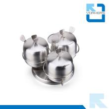 Venta caliente 3 piezas de acero inoxidable Rotating Spice Jar Set