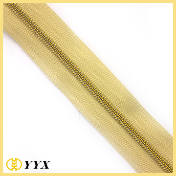 Hanging Plated Gold Kette Nylon Coil Zipper