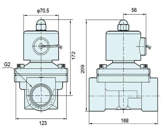 The Overall Dimension Drawing of 2W series electromagnetic water valves: