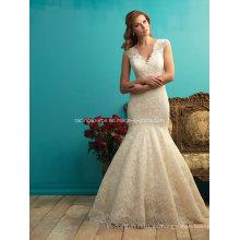 Ivory sin mangas de encaje vestido de novia ver a través de vestido de novia