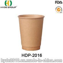 Taza de café papel de Kraft marrón doble pared (HDP-2016)