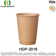 Tasse de café papier de Kraft brun Double paroi (HDP-2016)