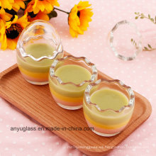 Huevo de leche de forma botellas de vidrio para el pudding