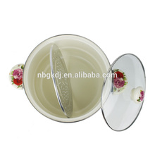 2015 venda quente cozinha enamelware esmalte panela de vapor