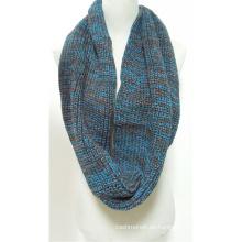 Calentador de cuello unisex para mujer Fancy grueso hilado de invierno Mezcla de punto bufanda de lazo Snood (SK157)