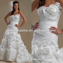 Strapless sweetheart neckline pleated bodice and waist wedding dress