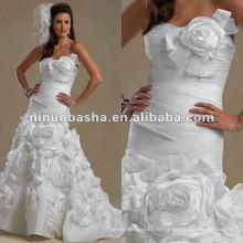 Без бретелек милая декольте плиссированные лиф свадебное платье