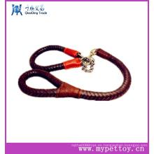 Cuero trenzado espiral de la manera con la correa de animal doméstico de la cadena