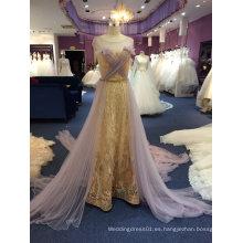 Oro Lace Tulle largo vestido de noche de la boda del mantón