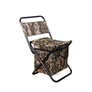 High quality outdoor camping metal folding portable chair with cooler bag