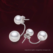 2014 Latest Silver Freshwater Pearl Earrings