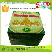 El mejor niño educativo de madera juega el juego preescolar 100pcs Cube Aclare los juguetes