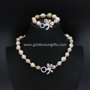 New Design Baroque Freshwater Pearl Necklace Bracelet Sets