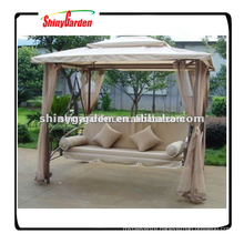Shinygarden garden outdoor steel metal frame patio gazebo hanging swing chair bed