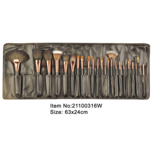 21pcs black plastic handle animal/nylon hair makeup brush tool set with black satin case
