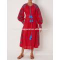 Новая мода Красный вышитые Миди платье Производство Оптовая продажа женской одежды (TA5297D)