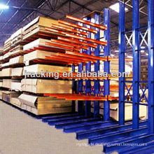 An der Wand befestigte industrielle Regale, farbiger Stahllagerkragarmregal