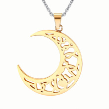Sun And Moon Splicing Gold Stainless Steel Pendant