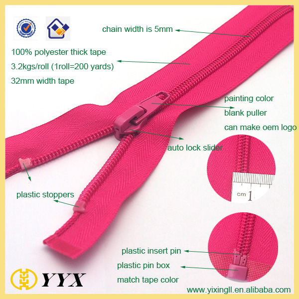 nylon separating zipper