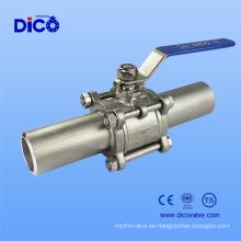 Válvula de bola soldada 3PC de grado industrial