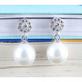 925 Needles Simple CZ Silver Pearl Earrings Gold-Plated