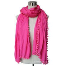 Lady Fashion Viscose Cotton Polyester Silk Knitted Shawl Scarf (YKY4375)