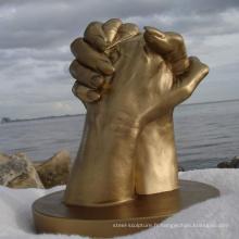 Sculpture de mains de cuivre art moderne en métal