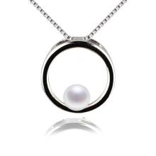 Large Circle Silver Natural Simple Pearl Pendant
