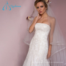 Tulle Lace Appliques Satin A-Line Wedding Dress Online Sale