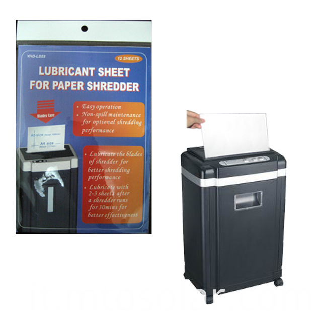 paper shredder lubricant sheet