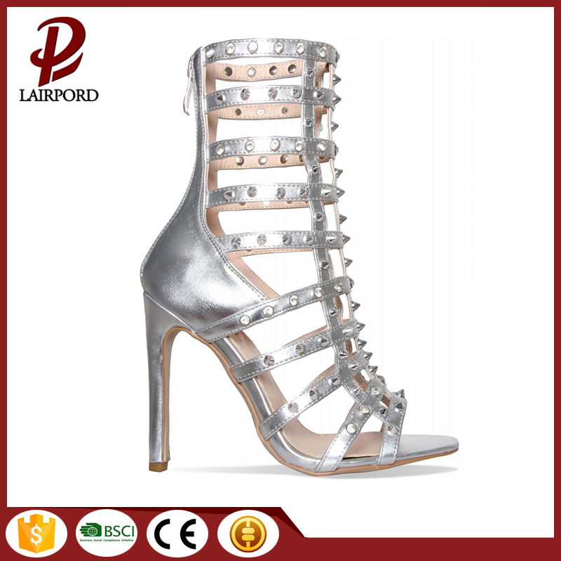 multi-colored mid -calf rivet pu sandals boots