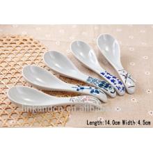 SP1525 Haonai cuchara de cerámica blanca con impresión