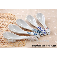 SP1525 Haonai ceramic white spoon with printing
