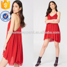Свободный покрой V-образным вырезом спагетти ремень Красного шифона мини летнее платье Производство Оптовая продажа женской одежды (TA0239D)