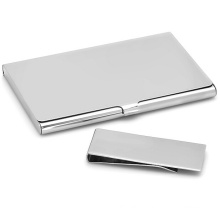 Polished Collection Business Card Holder & Money Clip Gift Set
