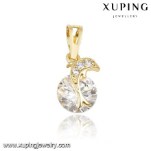 32281 xuping 14k gold plated diamond fish pendant