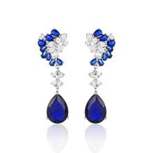 Moda jóias pedra azul brincos elegantes