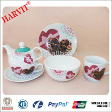 Valentine Heart Design Breakfast Set/Kitchen Breakfast Set Modern Dinnerware/Breakfast Set Kettle Coffee Mug Cup Saucer