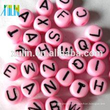 stock de una sola letra de cada bolsa de plástico oblato cuentas de alfabeto 4 * 7mm