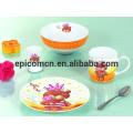 Милый украшенный продовольственной безопасности фарфора от 3 до 5 частей керамической посуды набор завтрак для детей